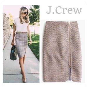 Jcrew sparkly tweed front zip skirt sz 8